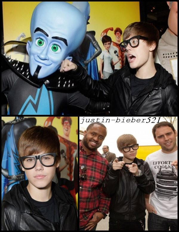 Il y a quelques heures de cela , Justin a assisté à l'avant première du film de son ami Will Ferrel , intitulé Megamind.