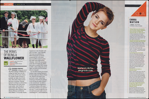 . » Scans + Photo + Interview «  ♥ Crédit des sources utilisées: EmmaWatsonFrance.net + EmmaWatsonFan.net ♥ .