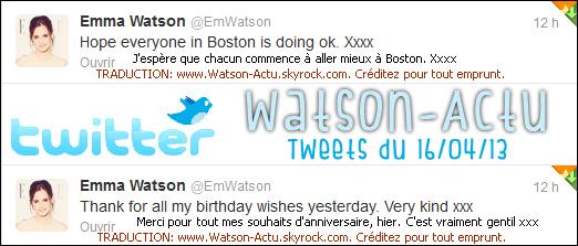 . »  Emma remercie ses fans pour lui avoir souhaiter un Happy Birthday + Boston.  «  .