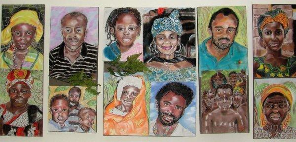 mosaïque de portraits africains