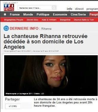 RUMEUR: MORT DE RIHANNA