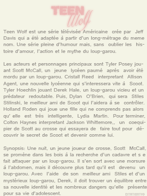 Sommaire sur Teen Wolf