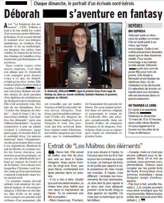 Mon second article parut le 26 Fevrier 2017