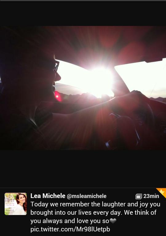 Lea Michele sur twitter un message pour cory monteith