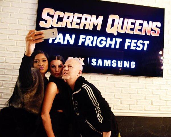 """Screamqueensfox : """" obsédé par cette photo de @kekepalmer, @msleamichele & Ryan Murphy de frayeur #screamqueens fan fest !"""""""