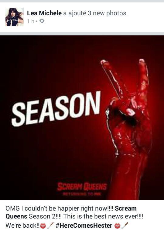 Lea Michele sur Facebook Scream Queens saison 2 il sont de retour