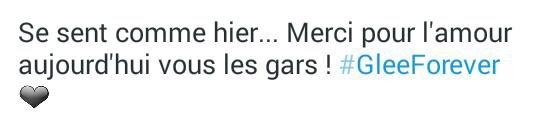 Lea Michele sur Twitter ( comment elle la dit ☺on dirait que c'était hier ☺ Sa fait déjà 1 ans