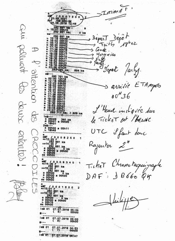 Ticket du Chronotaquigraphe du camion