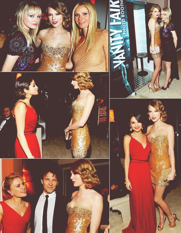 .. Taylor était présente ce 27 février 2011 à l'after party des Oscars oragnisée par le magazine Vanity Fair!  Elle a notamment posé avec sa meilleure amie Selena Gomez & Emma Stone! ..