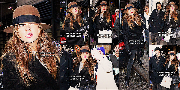 * 07/12/13 : Ashley  a été de nouveau vu se balladé en compagnie de  Ryan Good dans les rues de  New York City.     Le couple l'a  joué discret pour cette sortie avec chapeau. Ashley toujours habillé de couleur foncé comme a son habitude mais  sa lui va ! *