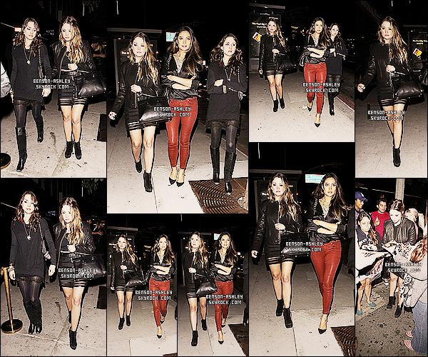 * 03/11/13 : Ashley  a été aperçu quittant le Bootsy Bellows accompagnée dans West Hollywood, Los Angeles. Pour fêté la fin du tournage de la saison 4 de Pretty Little Liars,   Ashley  accompagné du cast de la série ce sont rendus a une soirée ! *