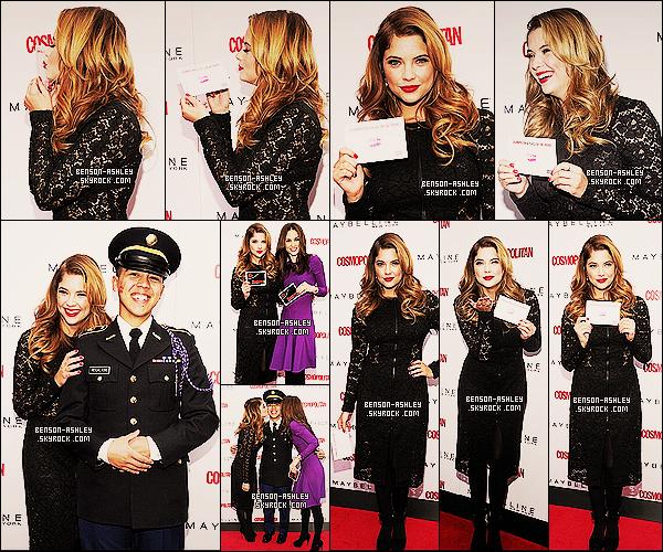 * 11/11/13 : Ashley  s'est rendu a la campagne de soutien des troupes, Kisses For The Troops  à New York City. Habillé tout en noire,  Ashley B. nous montre quand meme une très jolie tenue qui lui va très bien. J'aime énormement sa belle coiffure ! *