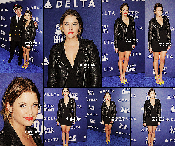 * 23/01/14 : Ashley  s'est rendue au weekend pour la reception    Delta Air Line  des Grammy     a   Los Angeles.  Ashley est assez jolie pour son prmeier tapis rouge de l'année c'est chaussure permet de casser le côté trop noire qui lui va  bien    ! *