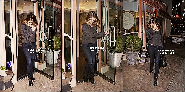 * 24/01/14 : Ashley  a été aperçu en train de quitter le salon de beauté    Blushington   situer  dans  West Hollywood.  Ashley était jolie mais semblait quand même assez fatiguée malgré quelle sorte d'un salon de beauté. Niveau tenue j'aime, elle est bien    ! *