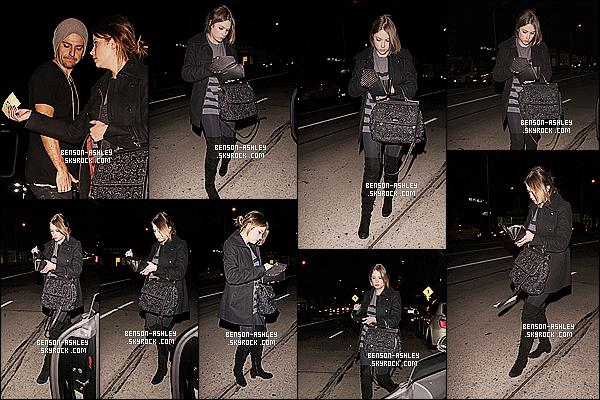 * 12/02/14 : Ashley a été aperçu en compagnie de Ryan Good a la sortie du restaurant    Madeo  dans    Los Angeles.  A nouveau un total look noire pour   Ashley pas de très grand changement. J'aime plutot bien son sac qui est un peu fantaisie et brillant ! *