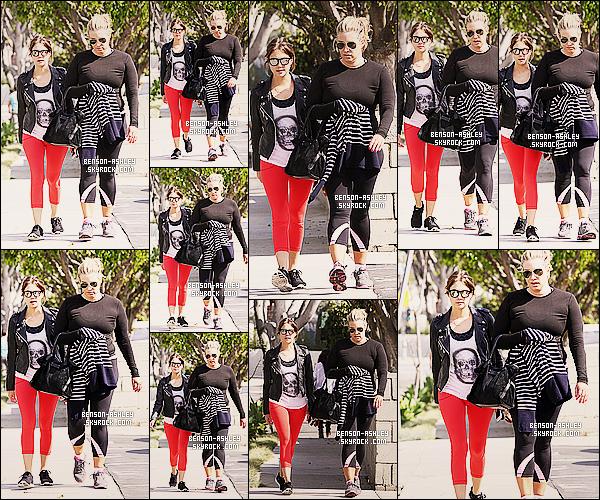 * 22/02/14 : Ashley a été aperçu accompagné d'une amie a la sortie de son cours de  GYM  situer a     Beverly Hills.  Une nouvelle tenue de sport pour Ashley mais elle est coloré donc ça lui va quand même, j'aime assez pour une fois sa tenue de sport ! *