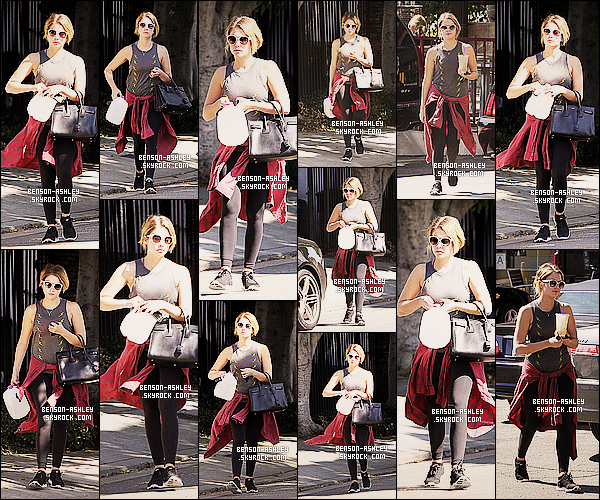* 15/10/13 : Ashley  a été aperçue une nouvelle fois a la sortie de son cours de     GYM qui est situer a  Los Angeles.   Ashley  nous a mis sa tenue de sport habituelle que je ne trouve pas trop mal mais je ne comprend pas pourquoi elle a sortie un bidon   ! *