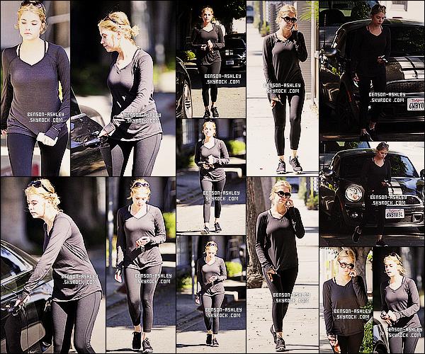 * 24/02/14 : Ashley a été aperçu près de sa voiture après avoir quitter son cours de   GYM  situer a     Los Angeles.  C'est une tenue noire que nous propose Ashley ce cout ci mais pour une fois  pour le sport c'est tout a fait acceptable vu la situation ! *