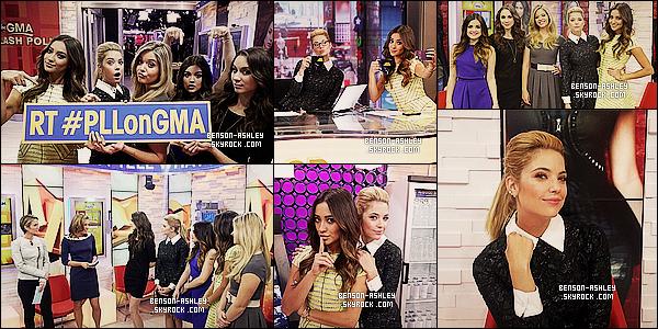 * 18/03/14 : Ashley s'est rendue sur le plateau de l'émission      Good Morning America   situer dans New York.   Ashley était totalement magnifique sa fait vraiment  plaisir de la voir sortir avec le casting de PLL en plus. J'aime beaucoup cette sortie ! *