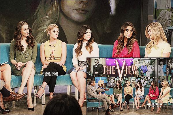 * 18/03/14 : Ashley s'est rendue sur le plateau de l'émission      The View   avec le cast situer dans New York.  C'est dans une tenue très femme que nous retrouvons  Ashley. J'aime vraiment beaucoup cette tenue jaune de notre belle demoiselle ! *