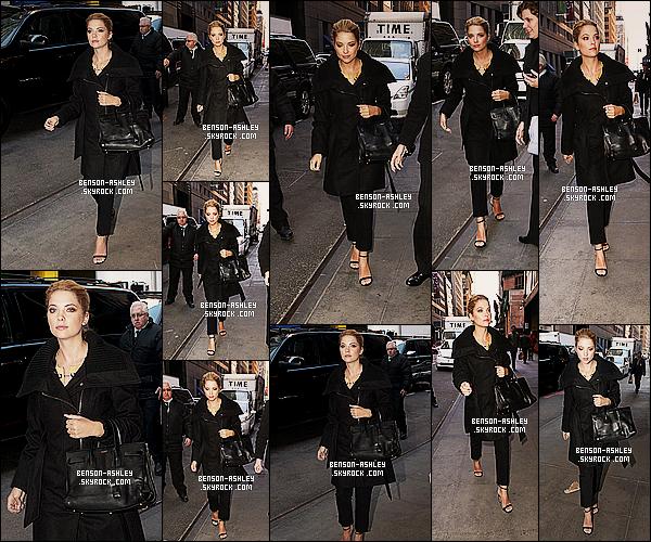 * 18/03/14 : Ashley a été aperçu avec sa co-star Shay Mitchell a la sortie de leur hotel le     Soho Hotel   a New York.  Ashley est beaucoup sortie lors de son cours séjour a New York c'est incroyable toute les sortie auquel nous avons le droit ce jour ci ! *