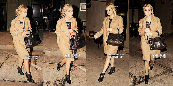 * 23/03/14 : Ashley a été aperçu seule a la sortie du restaurant le   Craig's    situer en plein dans West Hollywood.  La tenue d'Ashley semble être assez jolie malgré qu'elle soit noir mais je n'aime pas vraiment ce manteau  qu'elle nous a mis,  dommage  ! *