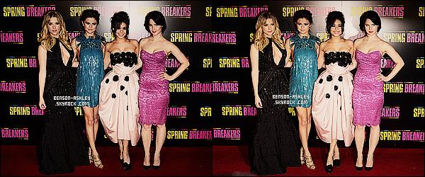 * 18/02/13 : Ashley était présente a la première du nouveau film    Spring Breakers avec le reste du cast  à Paris.  Pour sa venue en France, Ashley a fait fort avec une belle  robe noire. Elle était ravissante et semblait vraiment contente d'être présente  ! *