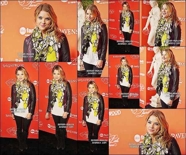* 15/10/13 : Ashley était présente a la projection de l'épisode d'Halloween de    Pretty Little Liars  a Hollywood.  Une tenue classe mais   décontracté pour Ashley mais j'aime bien parce qu'elle est assez coloré et original. J'aime  son foulard surtout  ! *