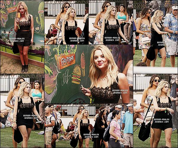 * 12/04/14 : Ashley était présente a la 2eme journée des    Coachella Music Festival    au Rancho Mirage a Calif.  Ashley n'a pas oubliée ses vetements noirs qu'elle porte continuellement mais ça lui va vraiment très bien. De plus elle est très souriante  ! *
