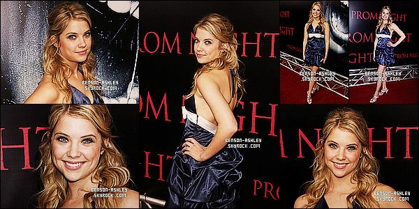 * 09/04/08 : Ashley a répondu  présente a la première du nouveau film     Prom Night    situé dans Los Angeles.  J'aime beaucoup la tenue d'Ashley, elle est tout simplement parfaite dans sa tenue bleu . La couleur lui va si bien et la met en valeur ! *