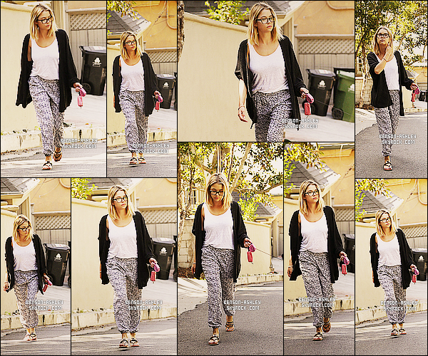 * 14/05/14 : Ashley a été aperçue en  promenade en compagnie de    Olive   son chien situé dans West Hollywood.  Nous retrouvons Ashley dans une tenue assez décontracté mais j'aime tout de même son choix de tenue qui lui va bien. C'est un top ! *