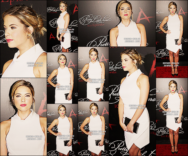 * 31/05/14 : Ashley était présente a la  célébration du    100 eme épisodes   de Pretty Little Liars à Hollywood.  Nous retrouvons Ashley dans une tenue assez classique en noir et blanc. J'aime  cette tenue que nous propose la jeune demoiselle ! *