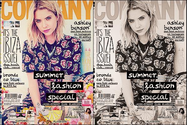 *    Ashley a réalisé un photoshoot pour le magazine « Company » pour le mois de Juillet 14.  *