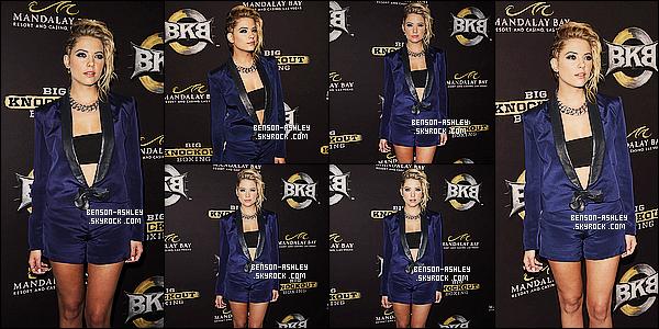 * 16/08/14 : Ashley été présente pour la soirée d'inauguration   pour les  Big Knockout Boxing    dans   Las Vegas.  Nous trouvons    Ashley dans une tenue bleu qui lui va vraiment bien. Mention pour cette coiffure  inédite chez Ash, qui lui va assez bien   ! *