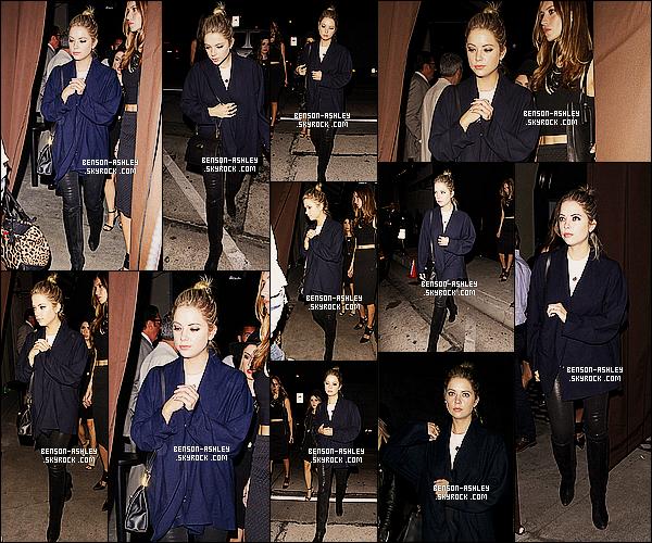 * 24/08/14 : Ashley a été aperçu avec son amie Esther quittant le restaurant le  Craig    qui est situé à   Los Angeles.  Je n'aime pas la veste    d'Ashley mais la tenue n'en reste pas moins trop mal. J'aime bien son pantalon qui lui va  bien malgrè qu'il soit noir   ! *