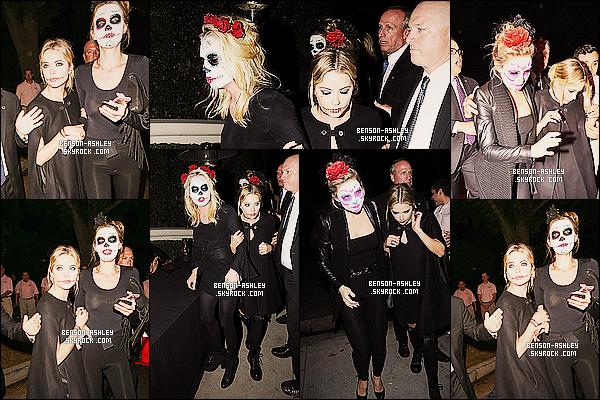 * 24/10/14 : Ashley a été aperçue se rendre à une fête pour halloween avec   Kate Hudson    situé à   Los Angeles.  Même pour Halloween, Ashley nous met encore du noir mais pour le coup sa rentre bien dans le thème, ça lui va bien donc un top    ! *