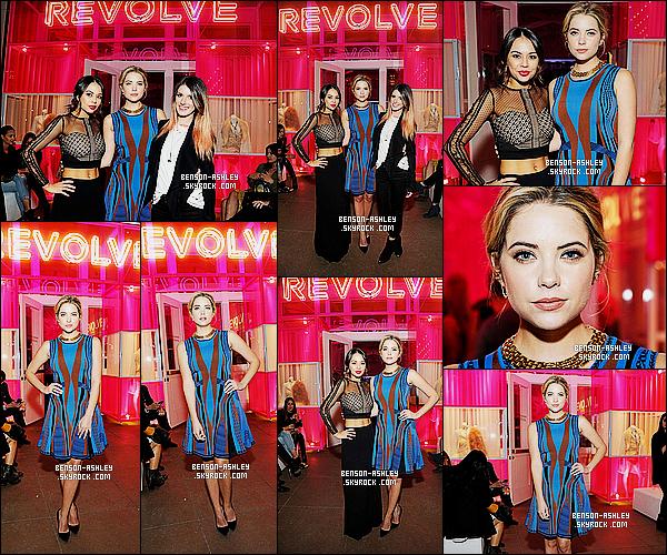 * 04/11/14 : Ashley était présente avec sa co-star Janel  au    Revolve Pop Up Launch Party    situé à   Los Angeles.  J'aime bien la tenue d'Ashley je trouve que le bleu lui va quand même bien. Je suis juste  déçu par sa coiffure, elle aurait pu faire mieux    ! *