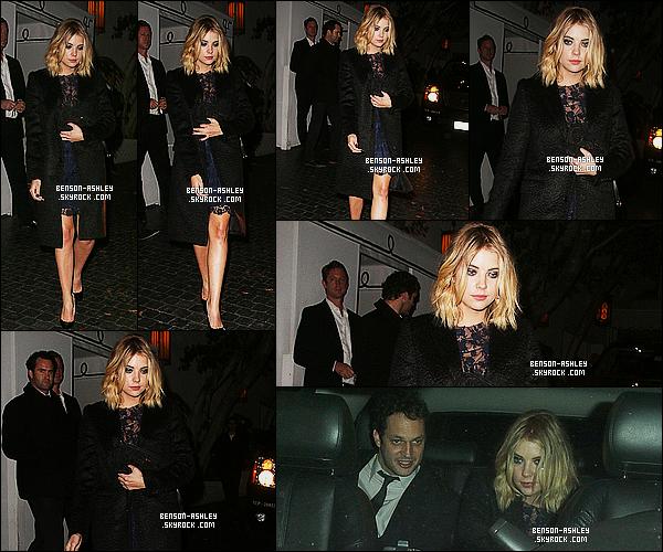 * 04/12/14 : Ashley a été aperçue seule au moment ou elle quittait le    Chateau Marmont   qui est  à  Los Angeles.  Niveau tenue, il n'y a rien  a rajouter vu que c'est la même tenue. Par contre sa faisait un moment qu'Ashley n'était pas allée au Chateau    ! *