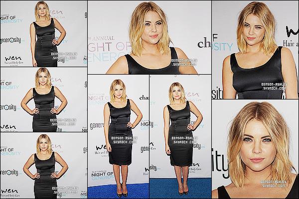 * 05/12/14 : Ashley était présente aux    6th Annual Night Of Generosity    qui c'est déroulé dans  Beverly Hills.  Je n'aime pas trop la robe choisis d'Ashley pour le coup. Je trouve que sa la serre un petit peu trop ici. C'est  un bof vu que le reste va    ! *