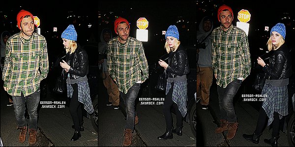 * 20/01/15 : Ashley a été aperçu  en compagnie de Ryan Good au    Chateau Marmont    qui est situé à  Hollywood. J'aime tout de la tenue  d'Ash a l'exception de son bonnet  que je trouve impossible a mettre avec quoi que ce soit. C'est quand même top.      *