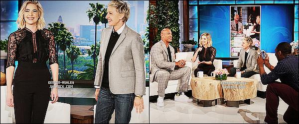 * 01/04/15 : Ashley était présente sur le plateau de       Ellen DeGeneres Show   avec  l'acteur  Dwayne Johnson. Une nouvelle fois, une tenue noire pour   Ash' mais c'est tout de même très jolie. Découvrez la vidéo de son passage lors de l'emission     ! *