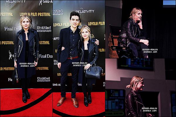 * 16/05/15 : Ashley était présente lors   du     2nd Annual Loyola Film Festival  qui s'est déroulé à Los Angeles. Une tenue simple et noire pour Ashley mais je la trouve assez bien, je trouve que c'est assez sympa. Ce sera donc un top pour la tenue    ! *