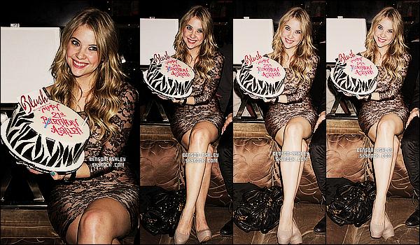 * 21/12/10 : Ashley était présente au     Blush Nightclub   à sa fête d'anniversaire pour ses 21 ans à Las Vegas.  Ashley a choisis la ville du jeux pour profiter de sa nouvelle majorité fraichement obtenue. J'aime bien sa tenue, elle est TOP & classe  ! *