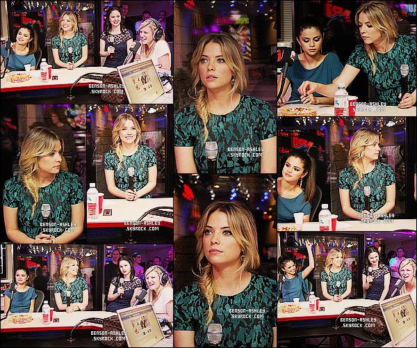 * 18/02/13 : Ashley été présente avec le cast de Spring Breakers en interview avec Cauet chez    NRJ   situé à  Paris.  Nous retrouvons Ashley dans une jolie petite robe noir et bleu/vert qui lui va tout simplement bien. C'est un TOP pour cette tenue  ! *