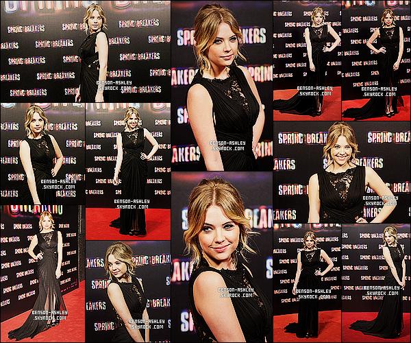 * 21/02/13 : Ashley était présente a la première du film    Spring Breakers   qui se déroule à  Madrid en Espagne.   Ashley a opté pour une tenue noir pour cette évenement. Mais malgrè tout elle lui va vraiment bien, c'est donc un TOP pour la tenue  ! *