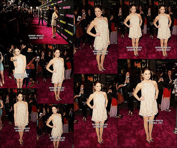 * 14/03/13 : Ashley était présente a la première du film    Spring Breakers   qui c'est déroule dans  Los Angeles.   Ashley a opté pour une petite robe blanche avec des fleurs, qui je trouve lui va bien. Ash a donc  frappé fort pour sa dernière première    ! *