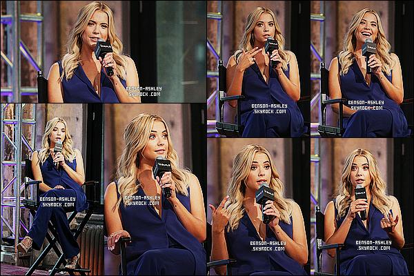 * 23/07/15 : Ashley était présente au     AOL BUILD  pour parler a propos du film Pixels  qui est à New York City.  Ashley poursuit son marathon autour de New York City pour pouvoir faire le promotion de son film (sortie le 22/07 en France) Pixels  ! *