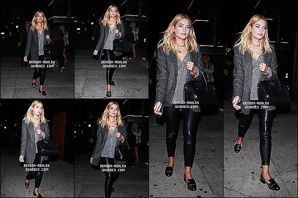* 17/09/15 : Ashley a été aperçu lorsqu'elle quittait le restaurant  The Nice Guy   qui est situé dans Beverly Hills. Une tenue sombre pour Ashley  mais j'aime bien en particulier ses chaussures que je trouve  vraiment pas mal, c'est donc un jolie TOP ! *