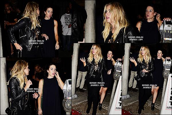 * 26/09/15 : Ashley a été aperçu en compagnie de sa soeur à la sortie du night club   Warwick   situé à  Hollywood. Ashley est toute de noir vêtu mais cela semble être un truc de famille étant donné que sa soeur l'ai tout autant mais j'aime bien, un TOP   ! *