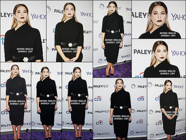 * 11/10/15 : Ashley était présente lors du Pretty Little Liars  PaleyFest   qui était situé dans New York City. Ashley a décidé une nouvelle fois de présenter une tenue entièrement noir qui est jolie mais qui très stricte je trouve, mais c'est un TOP   ! *